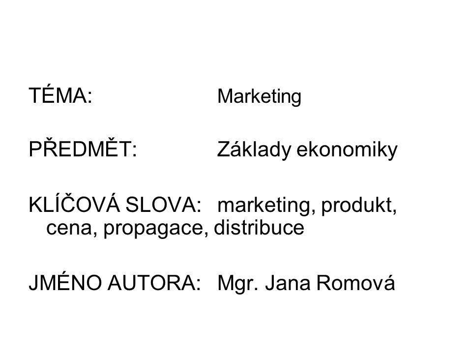 TÉMA: Marketing PŘEDMĚT:Základy ekonomiky KLÍČOVÁ SLOVA:marketing, produkt, cena, propagace, distribuce JMÉNO AUTORA:Mgr.