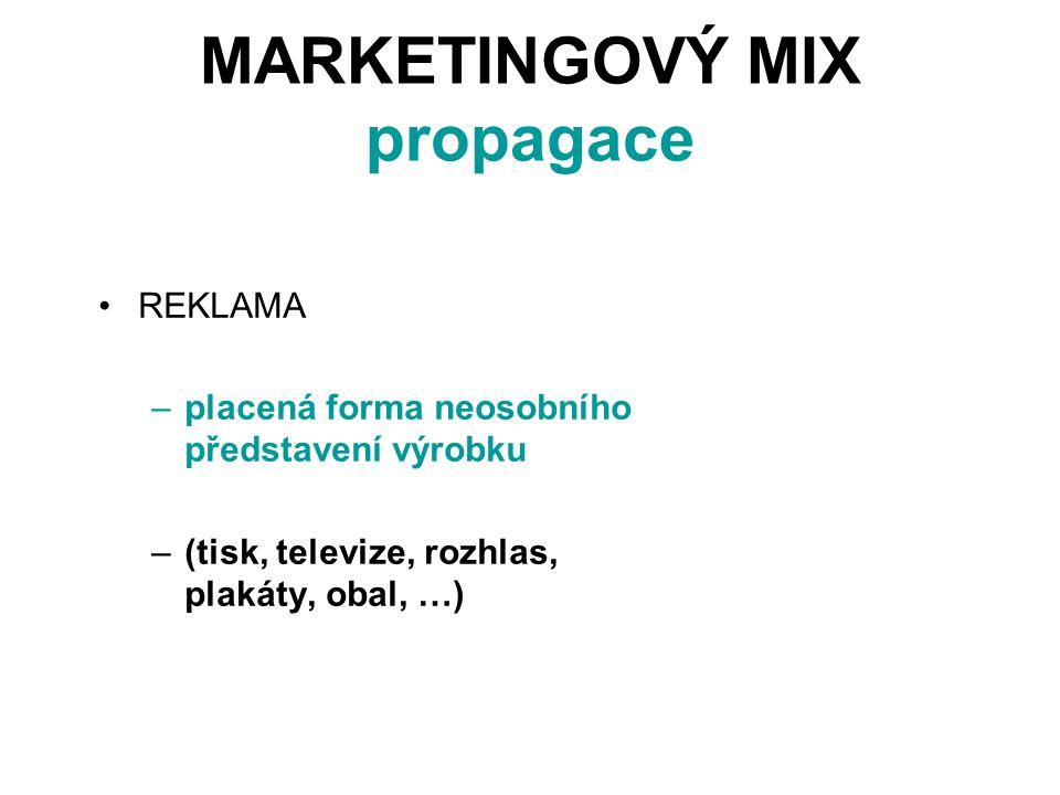 MARKETINGOVÝ MIX propagace REKLAMA –placená forma neosobního představení výrobku –(tisk, televize, rozhlas, plakáty, obal, …)