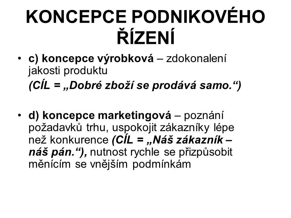 """KONCEPCE PODNIKOVÉHO ŘÍZENÍ c) koncepce výrobková – zdokonalení jakosti produktu (CÍL = """"Dobré zboží se prodává samo. ) d) koncepce marketingová – poznání požadavků trhu, uspokojit zákazníky lépe než konkurence (CÍL = """"Náš zákazník – náš pán. ), nutnost rychle se přizpůsobit měnícím se vnějším podmínkám"""