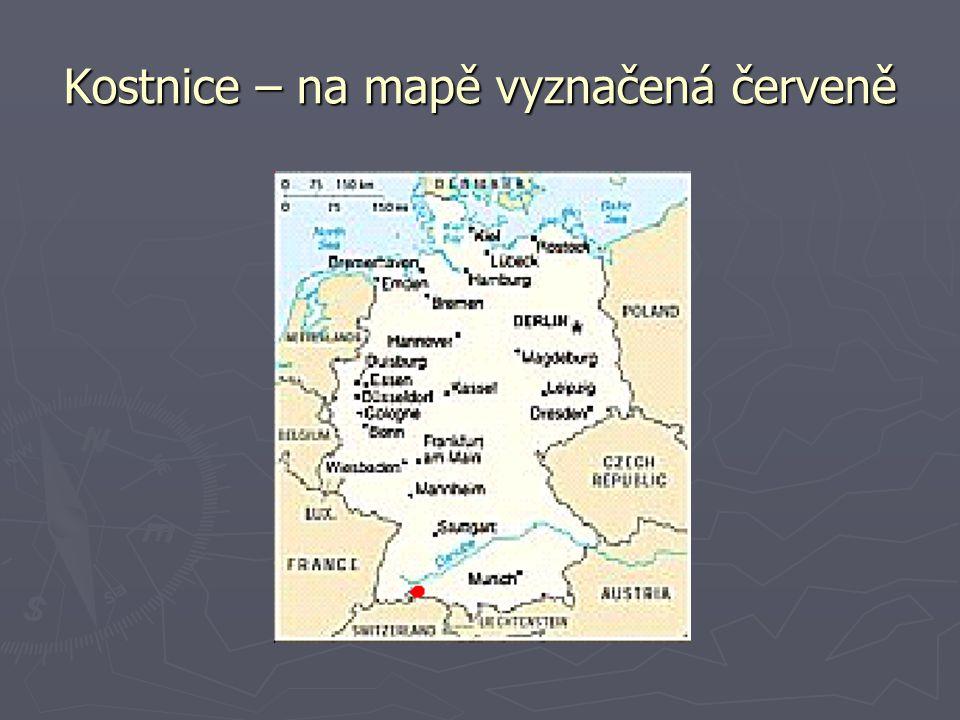 Kostnice – na mapě vyznačená červeně