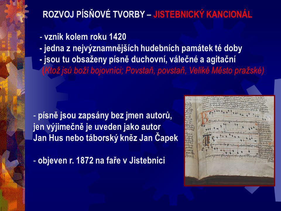 Literatura vrcholného husitství Nejčtenější knihou pro vzdělance i prosté lidi = Bible (z počátku 15. století pochází první kompletní český překlad) A