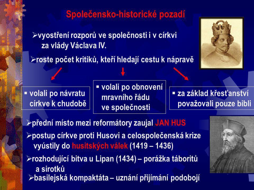 1)Společensko – historické pozadí (snímek č. 4 a 5) 2)Znaky literatury (snímek č. 6) 3)Literární žánry (snímek č. 7) 4)Jan Hus – motto (snímek č. 8) 5