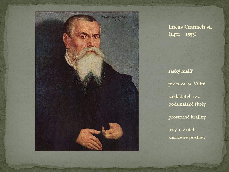 saský malíř pracoval ve Vídni zakladatel tzv. podunajské školy prostorné krajiny lesy a v nich zasazené postavy