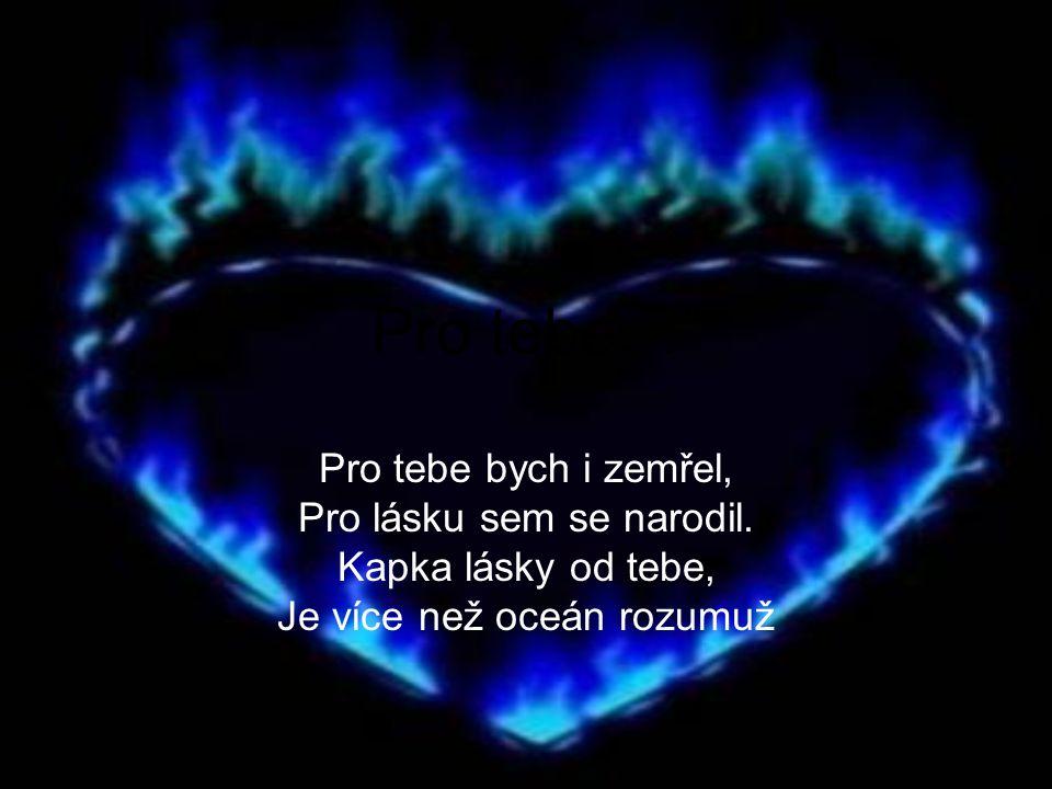 Pro tebe… Pro tebe bych i zemřel, Pro lásku sem se narodil. Kapka lásky od tebe, Je více než oceán rozumuž