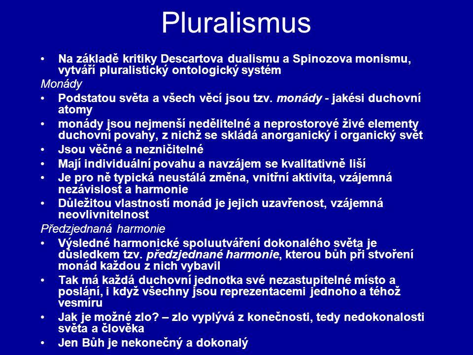 Pluralismus Na základě kritiky Descartova dualismu a Spinozova monismu, vytváří pluralistický ontologický systém Monády Podstatou světa a všech věcí j