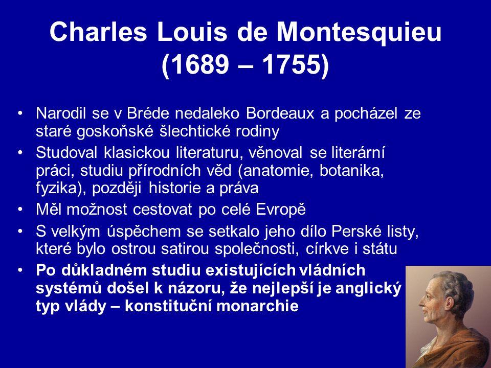 Charles Louis de Montesquieu (1689 – 1755) Narodil se v Bréde nedaleko Bordeaux a pocházel ze staré goskoňské šlechtické rodiny Studoval klasickou literaturu, věnoval se literární práci, studiu přírodních věd (anatomie, botanika, fyzika), později historie a práva Měl možnost cestovat po celé Evropě S velkým úspěchem se setkalo jeho dílo Perské listy, které bylo ostrou satirou společnosti, církve i státu Po důkladném studiu existujících vládních systémů došel k názoru, že nejlepší je anglický typ vlády – konstituční monarchie