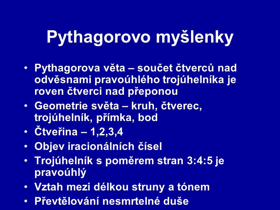 Pythagorovo myšlenky Pythagorova věta – součet čtverců nad odvěsnami pravoúhlého trojúhelníka je roven čtverci nad přeponou Geometrie světa – kruh, čt