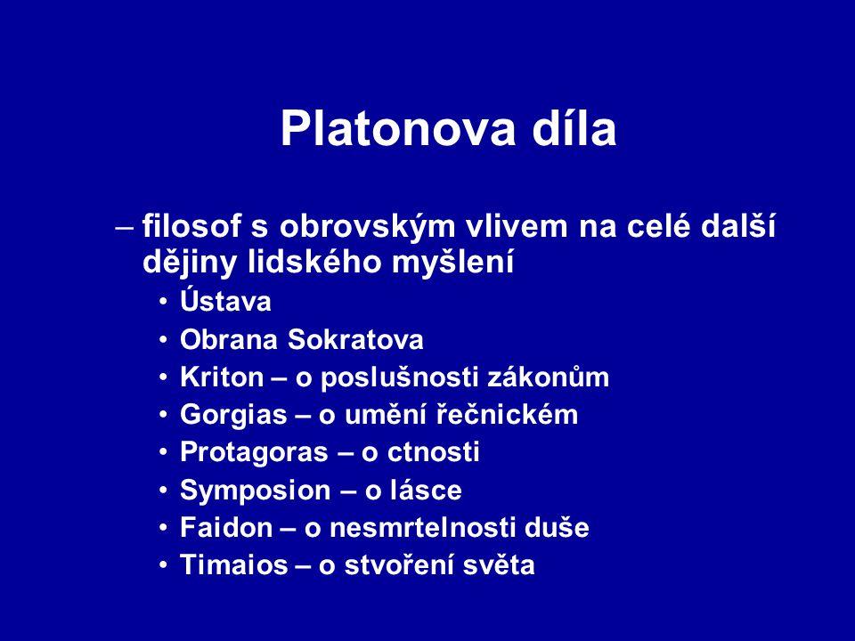 Platonova díla –filosof s obrovským vlivem na celé další dějiny lidského myšlení Ústava Obrana Sokratova Kriton – o poslušnosti zákonům Gorgias – o um