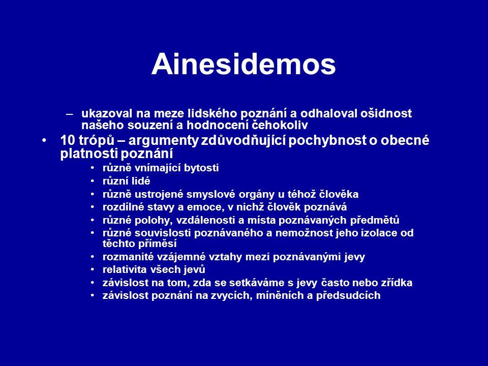 Ainesidemos –ukazoval na meze lidského poznání a odhaloval ošidnost našeho souzení a hodnocení čehokoliv 10 trópů – argumenty zdůvodňující pochybnost