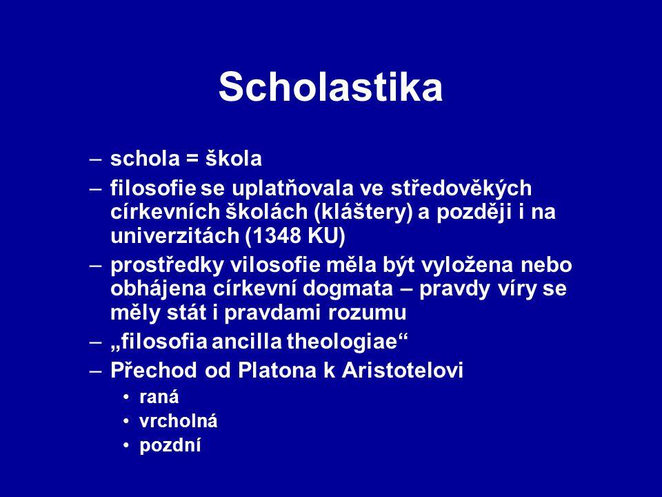 """–schola = škola –filosofie se uplatňovala ve středověkých církevních školách (kláštery) a později i na univerzitách (1348 KU) –prostředky vilosofie měla být vyložena nebo obhájena církevní dogmata – pravdy víry se měly stát i pravdami rozumu –""""filosofia ancilla theologiae –Přechod od Platona k Aristotelovi raná vrcholná pozdní"""