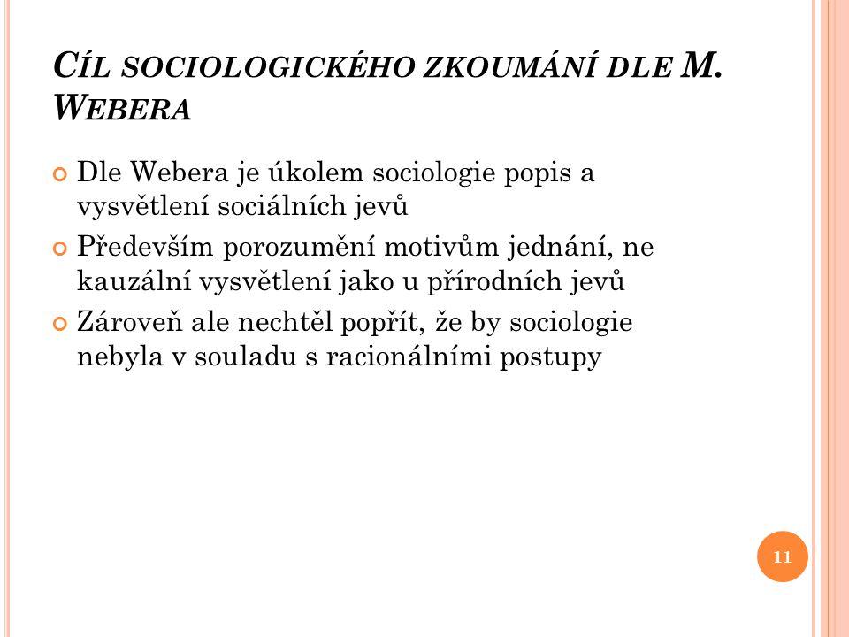 C ÍL SOCIOLOGICKÉHO ZKOUMÁNÍ DLE M. W EBERA Dle Webera je úkolem sociologie popis a vysvětlení sociálních jevů Především porozumění motivům jednání, n