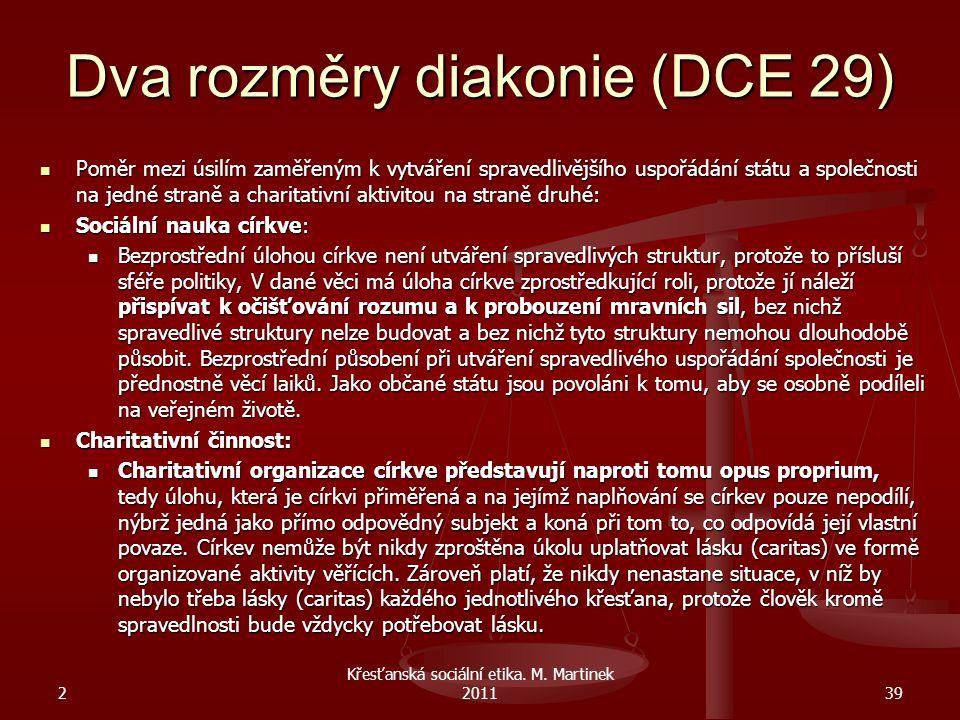 Dva rozměry diakonie (DCE 29) Poměr mezi úsilím zaměřeným k vytváření spravedlivějšího uspořádání státu a společnosti na jedné straně a charitativní a