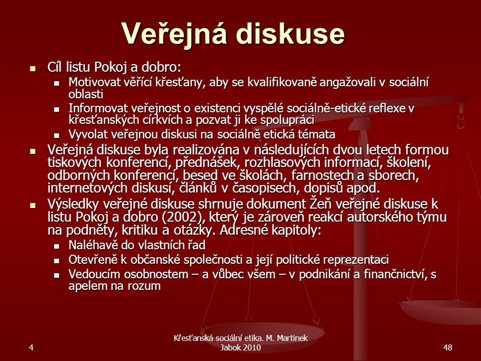 4 Křesťanská sociální etika. M. Martinek Jabok 201048 Veřejná diskuse Cíl listu Pokoj a dobro: Motivovat věřící křesťany, aby se kvalifikovaně angažov