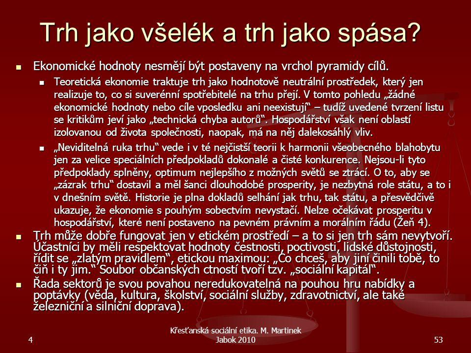 4 Křesťanská sociální etika. M. Martinek Jabok 201053 Trh jako všelék a trh jako spása? Ekonomické hodnoty nesmějí být postaveny na vrchol pyramidy cí