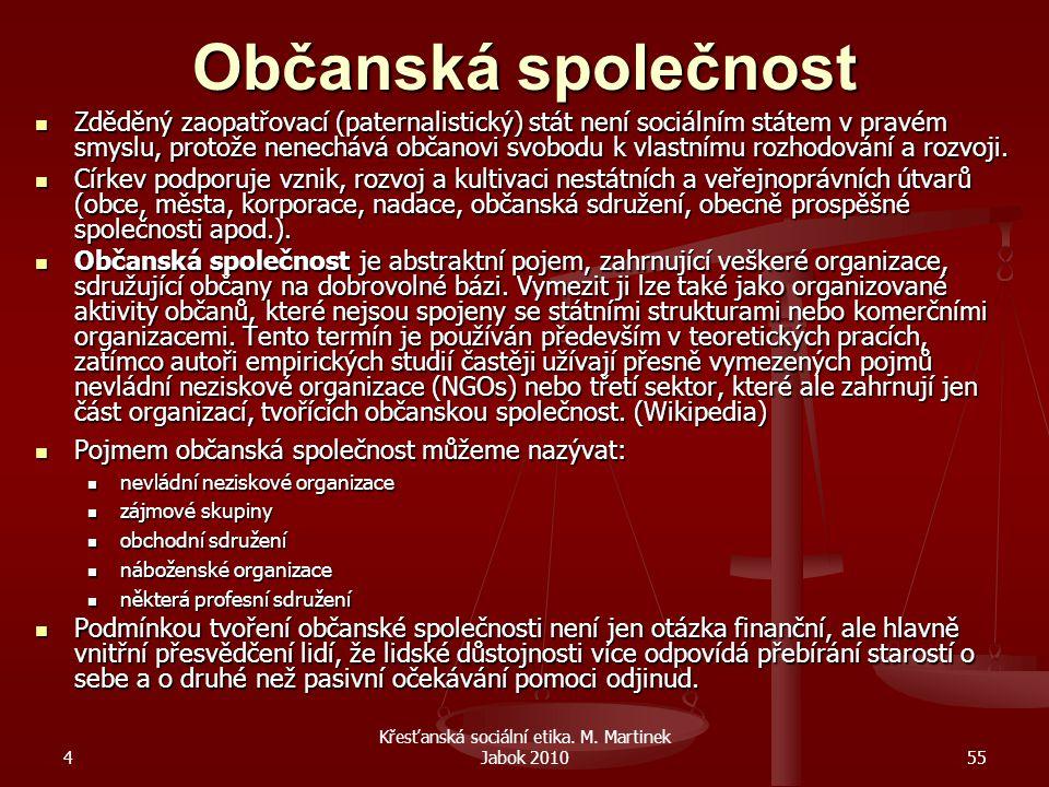 4 Křesťanská sociální etika. M. Martinek Jabok 201055 Občanská společnost Zděděný zaopatřovací (paternalistický) stát není sociálním státem v pravém s