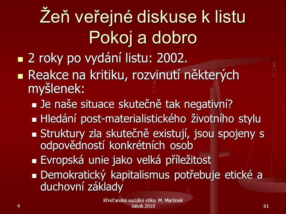 4 Křesťanská sociální etika. M. Martinek Jabok 201061 Žeň veřejné diskuse k listu Pokoj a dobro 2 roky po vydání listu: 2002. 2 roky po vydání listu: