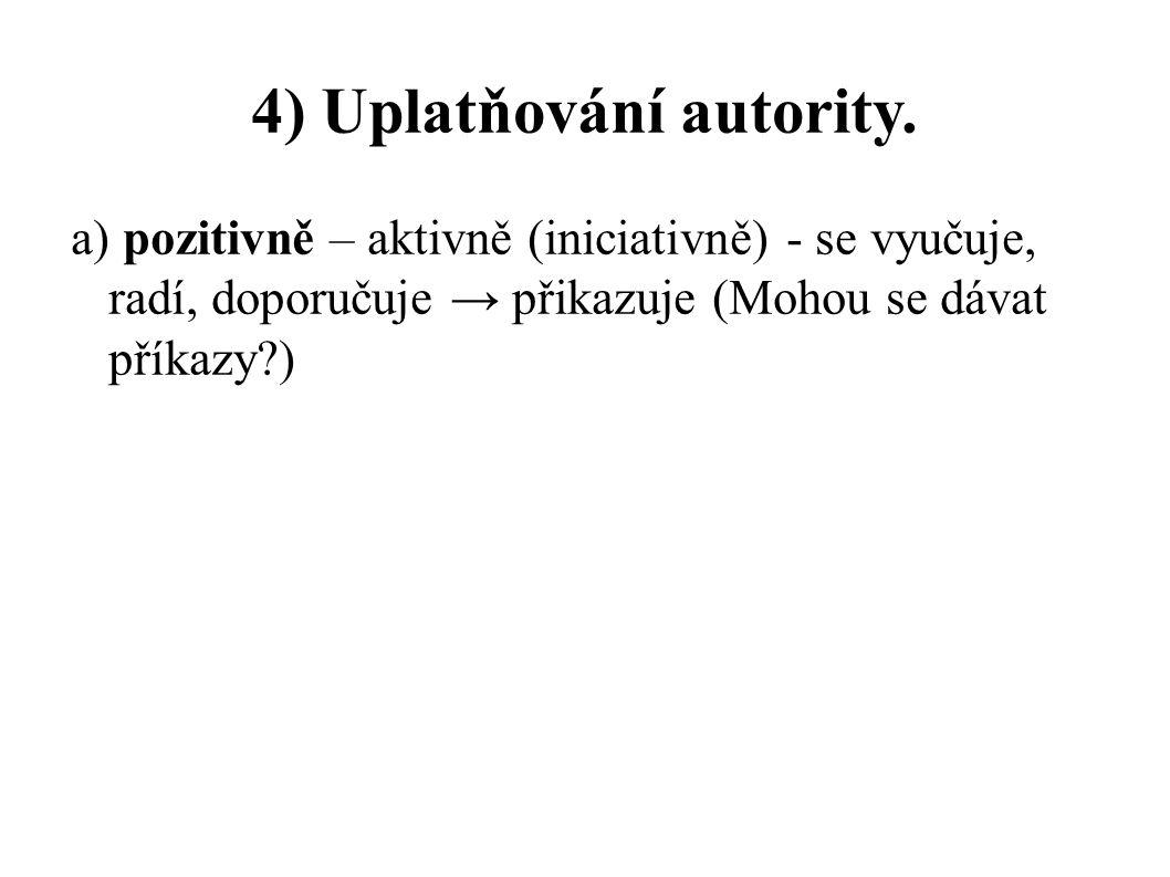 4) Uplatňování autority. a) pozitivně – aktivně (iniciativně) - se vyučuje, radí, doporučuje → přikazuje (Mohou se dávat příkazy?)