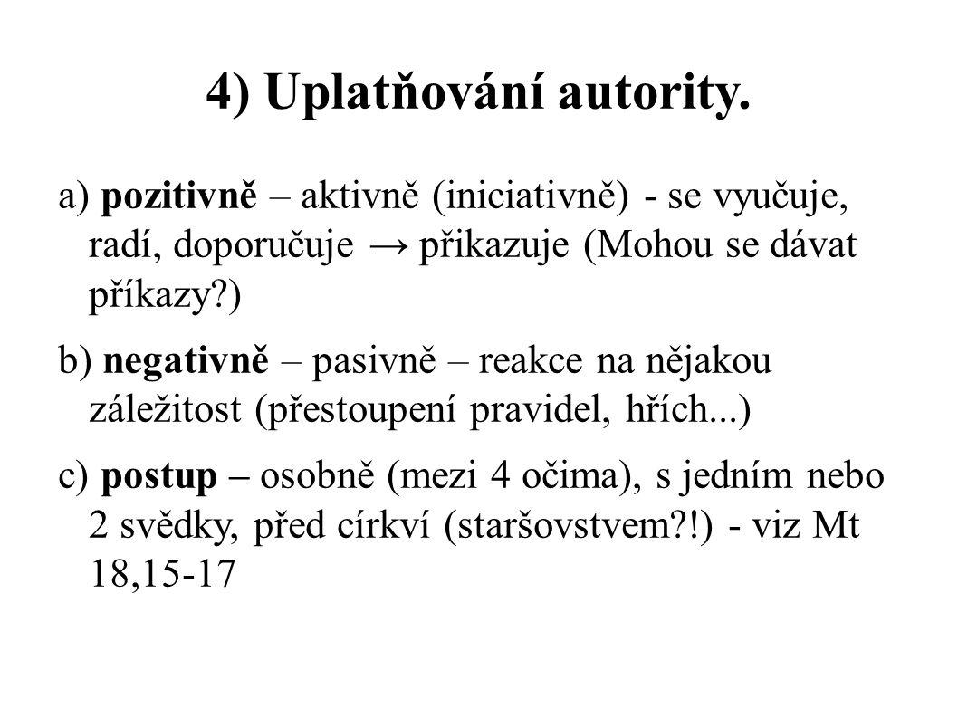 4) Uplatňování autority. a) pozitivně – aktivně (iniciativně) - se vyučuje, radí, doporučuje → přikazuje (Mohou se dávat příkazy?) b) negativně – pasi