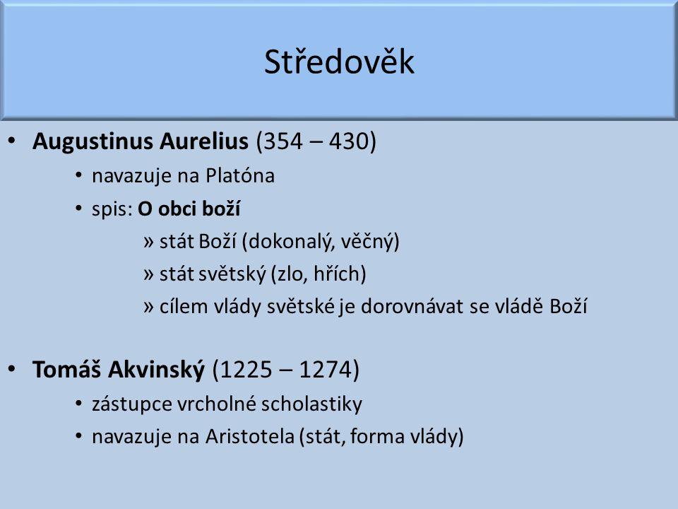 Středověk Augustinus Aurelius (354 – 430) navazuje na Platóna spis: O obci boží » stát Boží (dokonalý, věčný) » stát světský (zlo, hřích) » cílem vlád