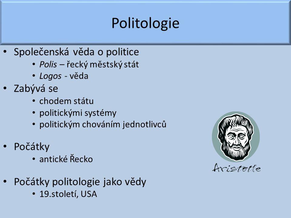 Politologie Společenská věda o politice Polis – řecký městský stát Logos - věda Zabývá se chodem státu politickými systémy politickým chováním jednotl