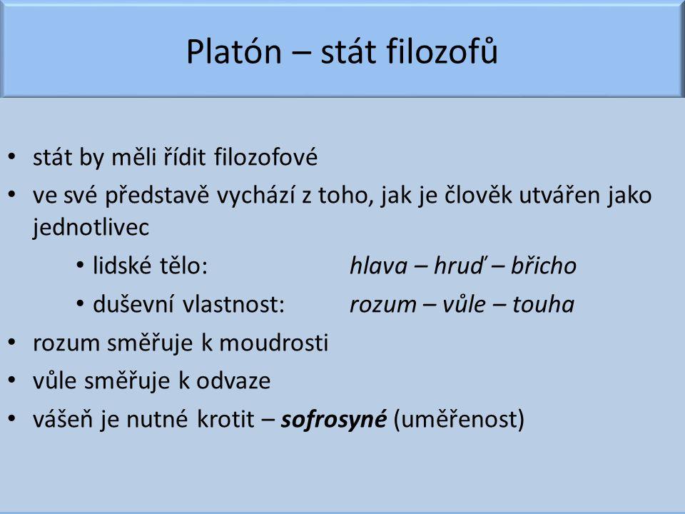 Platón – stát filozofů stát by měli řídit filozofové ve své představě vychází z toho, jak je člověk utvářen jako jednotlivec lidské tělo:hlava – hruď