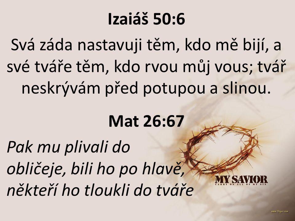 Izaiáš 50:6 Svá záda nastavuji těm, kdo mě bijí, a své tváře těm, kdo rvou můj vous; tvář neskrývám před potupou a slinou. Mat 26:67 Pak mu plivali do