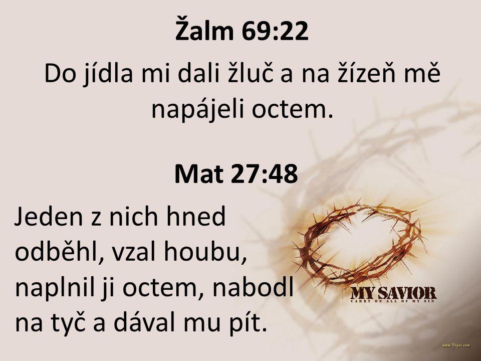 Žalm 69:22 Do jídla mi dali žluč a na žízeň mě napájeli octem. Mat 27:48 Jeden z nich hned odběhl, vzal houbu, naplnil ji octem, nabodl na tyč a dával
