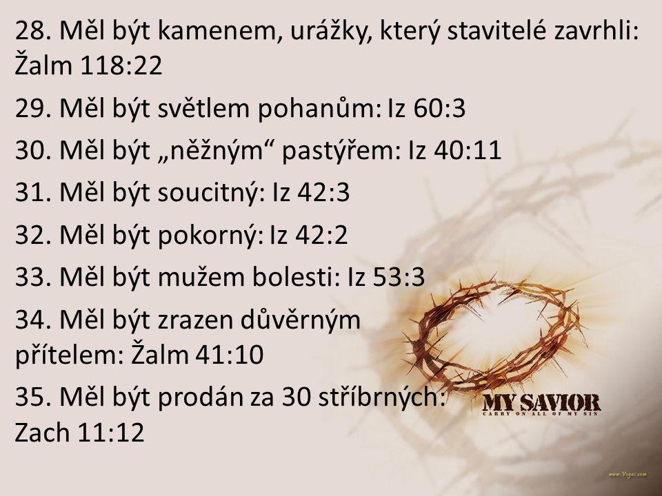 """28. Měl být kamenem, urážky, který stavitelé zavrhli: Žalm 118:22 29. Měl být světlem pohanům: Iz 60:3 30. Měl být """"něžným"""" pastýřem: Iz 40:11 31. Měl"""