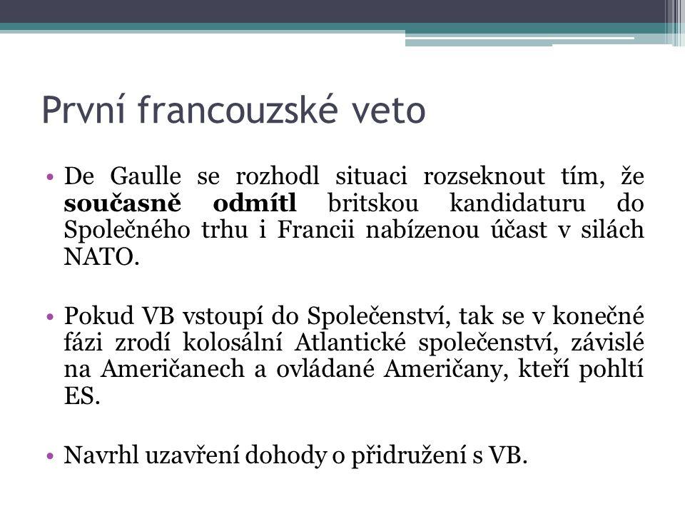 První francouzské veto De Gaulle se rozhodl situaci rozseknout tím, že současně odmítl britskou kandidaturu do Společného trhu i Francii nabízenou účast v silách NATO.