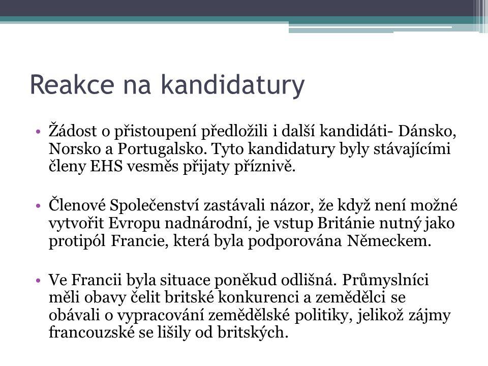 Reakce na kandidatury Žádost o přistoupení předložili i další kandidáti- Dánsko, Norsko a Portugalsko.