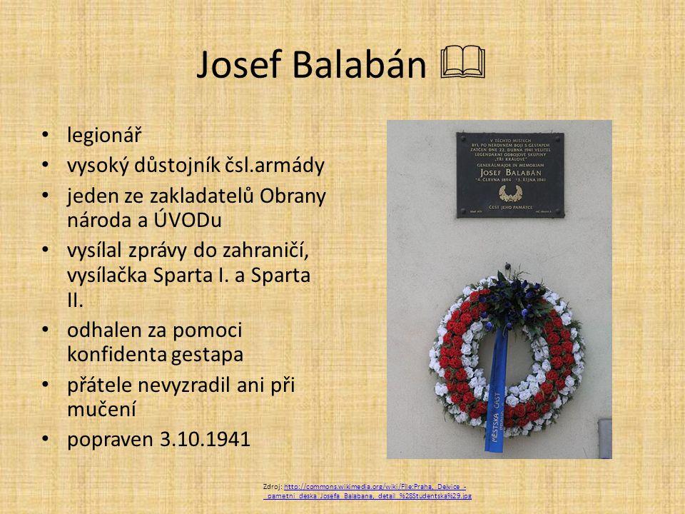 Josef Balabán  legionář vysoký důstojník čsl.armády jeden ze zakladatelů Obrany národa a ÚVODu vysílal zprávy do zahraničí, vysílačka Sparta I.