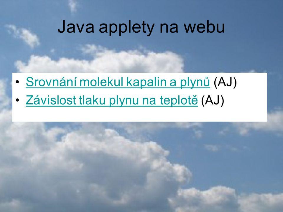 Java applety na webu Srovnání molekul kapalin a plynů (AJ)Srovnání molekul kapalin a plynů Závislost tlaku plynu na teplotě (AJ)Závislost tlaku plynu