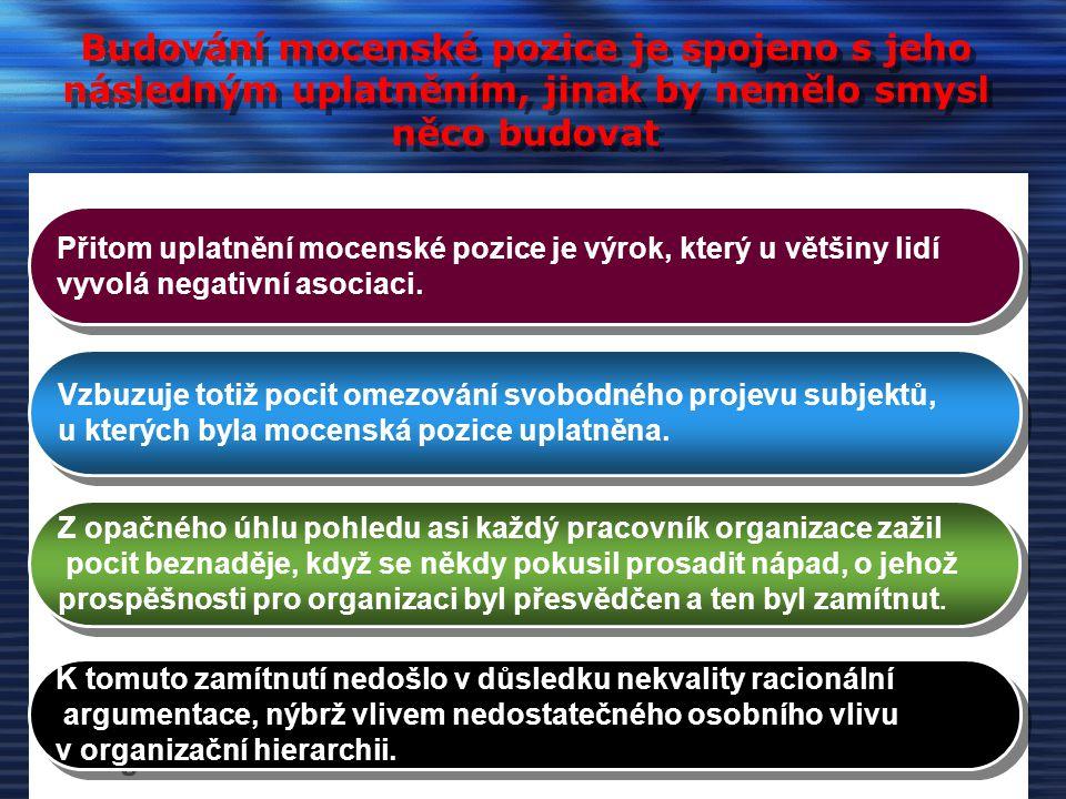 Mocenské a politické vztahy v rámci organizace