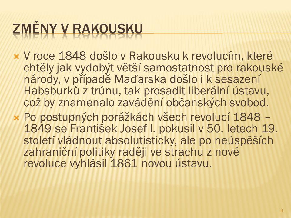  V roce 1848 došlo v Rakousku k revolucím, které chtěly jak vydobýt větší samostatnost pro rakouské národy, v případě Maďarska došlo i k sesazení Hab