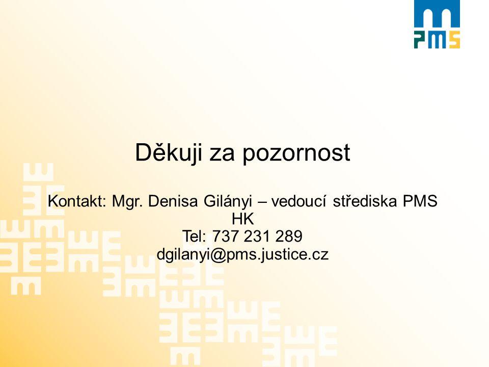 Děkuji za pozornost Kontakt: Mgr. Denisa Gilányi – vedoucí střediska PMS HK Tel: 737 231 289 dgilanyi@pms.justice.cz