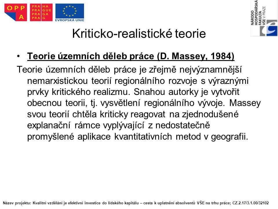 Kriticko-realistické teorie Teorie územních děleb práce (D.