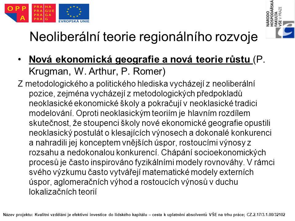 Neoliberální teorie regionálního rozvoje Nová ekonomická geografie a nová teorie růstu (P.