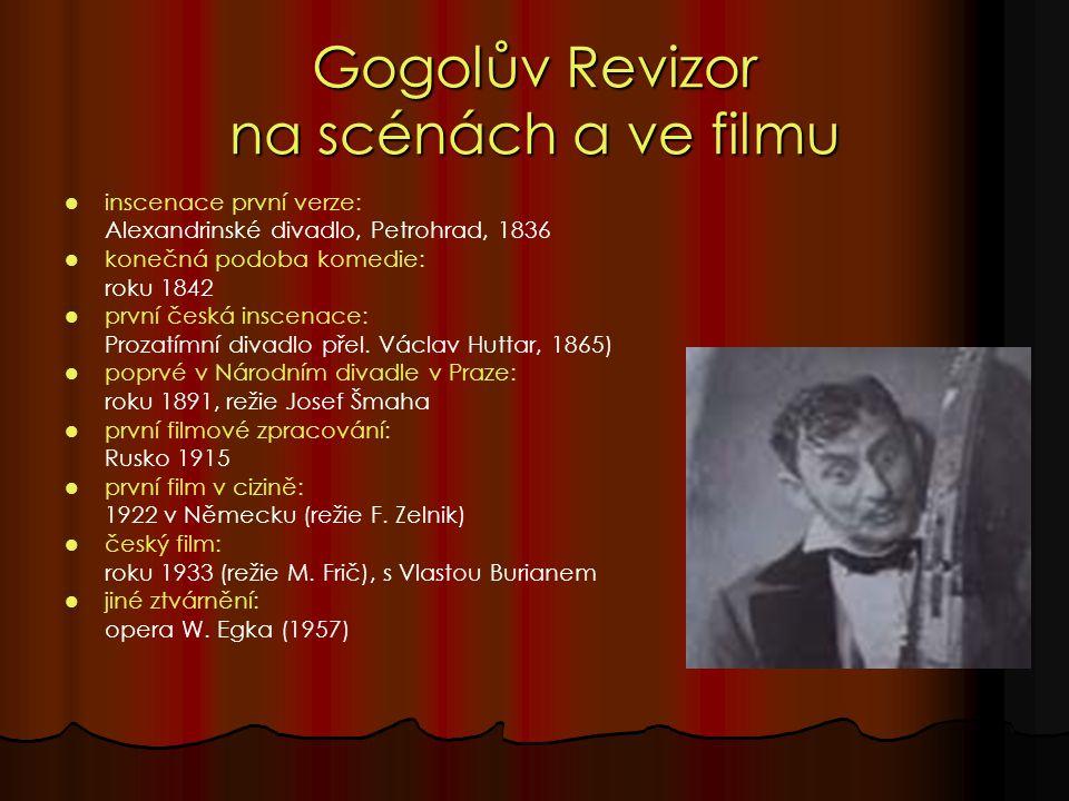 Gogolův Revizor na scénách a ve filmu inscenace první verze: Alexandrinské divadlo, Petrohrad, 1836 konečná podoba komedie: roku 1842 první česká inscenace: Prozatímní divadlo přel.