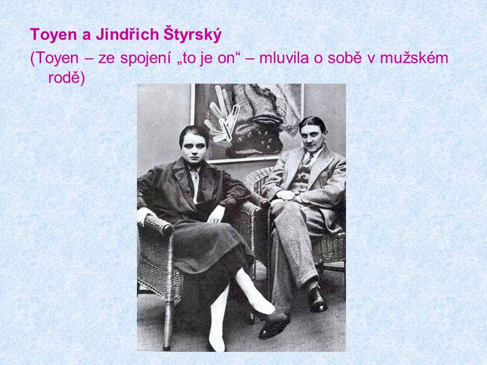 """Toyen a Jindřich Štyrský (Toyen – ze spojení """"to je on"""" – mluvila o sobě v mužském rodě)"""