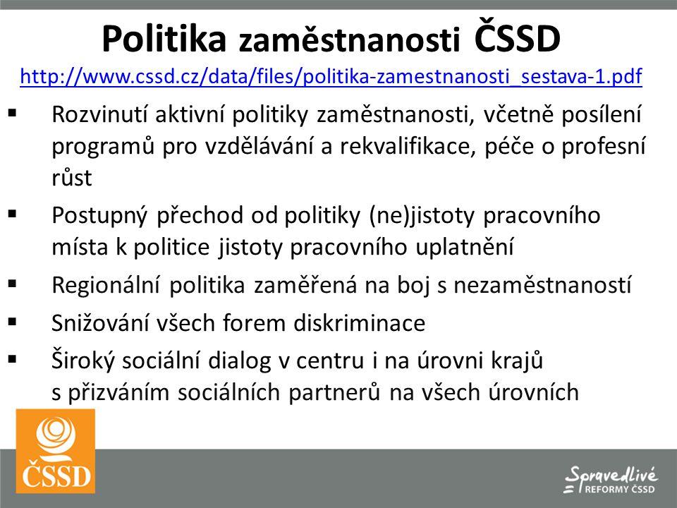 Politika zaměstnanosti ČSSD http://www.cssd.cz/data/files/politika-zamestnanosti_sestava-1.pdf http://www.cssd.cz/data/files/politika-zamestnanosti_sestava-1.pdf  Rozvinutí aktivní politiky zaměstnanosti, včetně posílení programů pro vzdělávání a rekvalifikace, péče o profesní růst  Postupný přechod od politiky (ne)jistoty pracovního místa k politice jistoty pracovního uplatnění  Regionální politika zaměřená na boj s nezaměstnaností  Snižování všech forem diskriminace  Široký sociální dialog v centru i na úrovni krajů s přizváním sociálních partnerů na všech úrovních