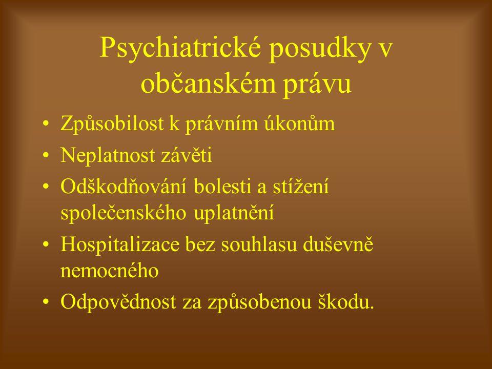 Technologie vypracování znaleckého posudku na právní způsobilost Zhodnocení aktuálního psychického stavu včetně psychologického vyš., u hran.