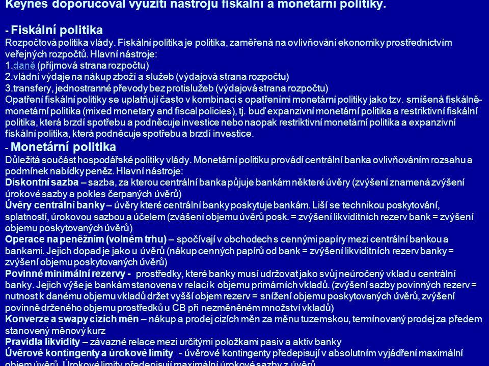 Keynes doporučoval využití nástrojů fiskální a monetární politiky. - Fiskální politika Rozpočtová politika vlády. Fiskální politika je politika, zaměř