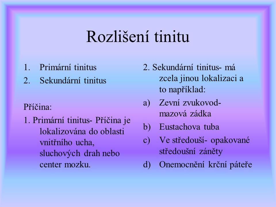 Rozlišení tinitu 1.Primární tinitus 2.Sekundární tinitus Příčina: 1.