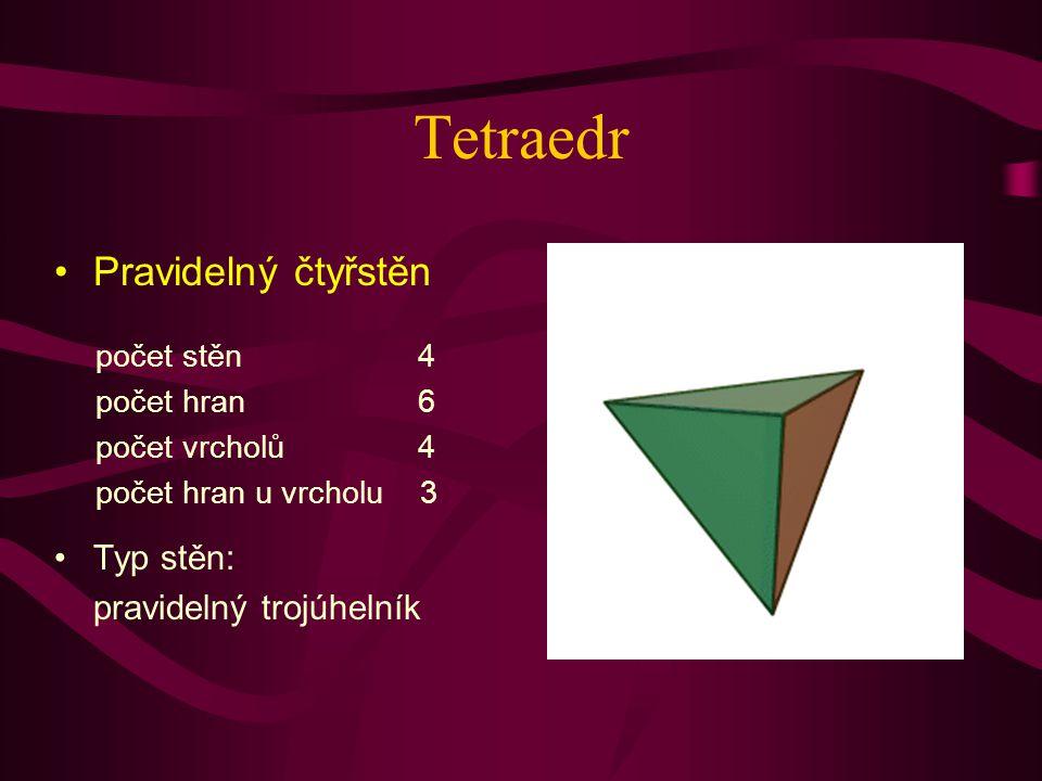 Tetraedr Pravidelný čtyřstěn Typ stěn: pravidelný trojúhelník počet stěn 4 počet hran 6 počet vrcholů 4 počet hran u vrcholu 3
