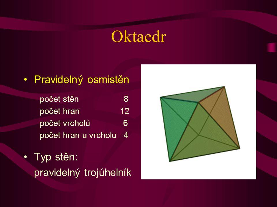 Oktaedr Pravidelný osmistěn Typ stěn: pravidelný trojúhelník počet stěn 8 počet hran 12 počet vrcholů 6 počet hran u vrcholu 4