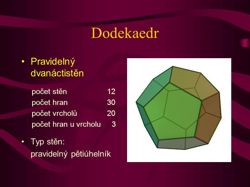 Dodekaedr Pravidelný dvanáctistěn Typ stěn: pravidelný pětiúhelník počet stěn 12 počet hran 30 počet vrcholů 20 počet hran u vrcholu 3