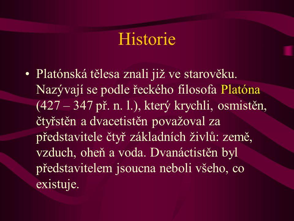 Historie Platónská tělesa znali již ve starověku. Nazývají se podle řeckého filosofa Platóna (427 – 347 př. n. l.), který krychli, osmistěn, čtyřstěn