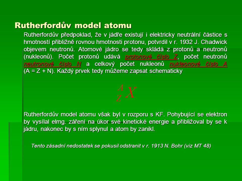 Rutherfordův model atomu Rutherfordův předpoklad, že v jádře existují i elektricky neutrální částice s hmotností přibližně rovnou hmotnosti protonu, potvrdil v r.