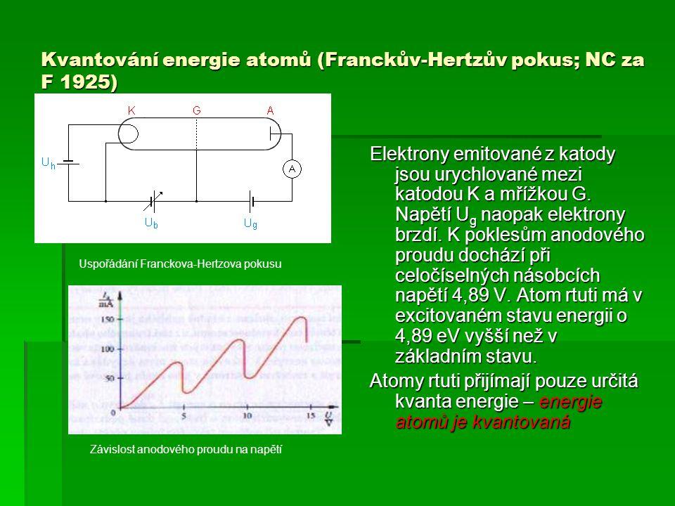 Kvantování energie atomů (Franckův-Hertzův pokus; NC za F 1925) Elektrony emitované z katody jsou urychlované mezi katodou K a mřížkou G.