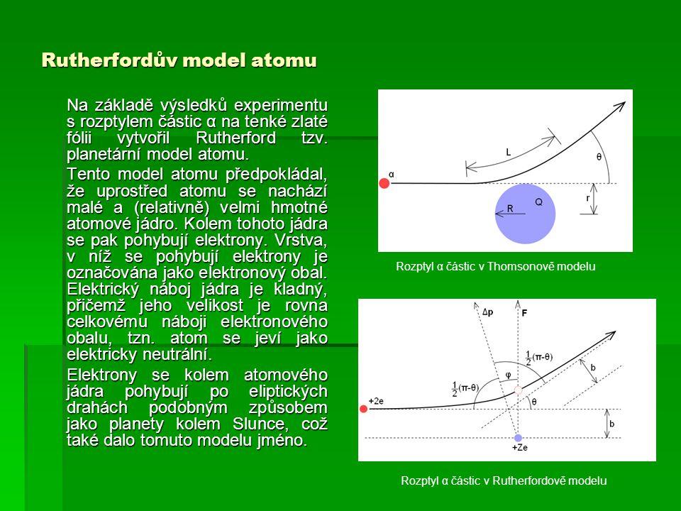 Rutherfordův model atomu Na základě výsledků experimentu s rozptylem částic α na tenké zlaté fólii vytvořil Rutherford tzv.